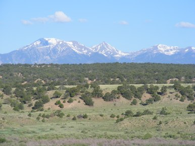 Sangre de Cristo Mountains, Mount Herard on the left, rising from the Huerfano Country