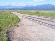 Colorado State Highway 69, looking south towards Sierra Blanca from the Promontory Divide