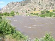 The roiling Arkansas River near Coaldale