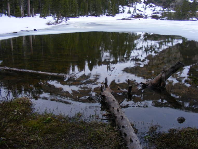 Fossil Mountain reflected off of Mill Lake, Fossil Ridge Wilderness in the Gunnison National Forest
