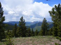 Reno Ridge view, looking past Cement Creek - left to right is Red Mountain, Mount Axtell and Whetstone Mountain