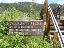 Trail signage for Ute Creek Trail