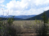 The view from camp - Indian Creek and the far-off Platte River Mountains