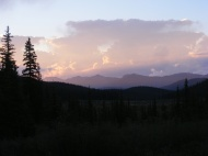 Sunset over Platte River Mountains, my view from camp on Indian Creek in the Lost Creek Wilderness