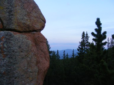 Dusk on the knoll just west of Bison Pass