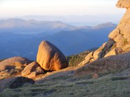 Sunlight striking the eroded granite of the Tarryall Mountains