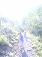 Draco and Leah on Wild Cherry Trail in the morning light.