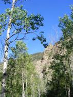 An outcropping of rock above the aspen on the Wild Cherry Trail