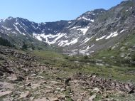 Peanut and Cherry Lakes in their basin, Sangre de Cristo Wilderness