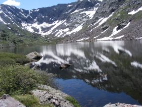 Cherry Lake in its basin, nestled among the high peaks of the Sangre de Cristo Mountains