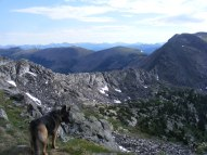 Leah just east of Square Top Mountain looking at Gunsight Pass and Broncho Mountain; the distant horizon is the Great Divide atop the Sawatch Range