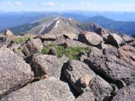 The view north from Henry Mountain looking at the distant Elk Mountains