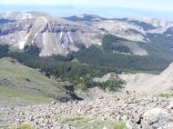Looking southwest from Henry Mountain focusing on the western trend of Fossil Ridge