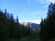 Early sunlight striking the mountains north of Alpine Gulch