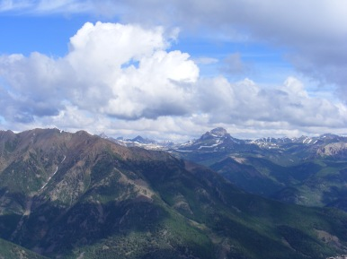 Clouds gathering over the San Juan Mountains, Uncompahgre Peak to the center right