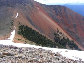 The saddle between Point 12,601 and Red Mountain