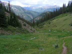 High on the East Fork of Alpine Gulch, looking out over Cannibal Plateau