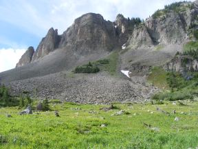 Just south of Green Lake, a pretty sub-alpine meadow beneath an eastern flank of Mount Axtell