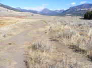 Barronette Peak, Abiathar Peak and Amphitheater Mountain seen from the Lamar River Trail near Soda Butte Creek