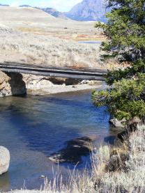 The Lamar River Trail crosses this bridge over Soda Butte Creek in Yellowstone National Park