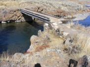 Classic hiker's bridge over Soda Butte Creek on the Lamar River Trail
