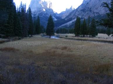 Nearing Squaretop Mountain, the Green River flowing through an open meadow