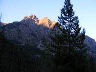 Sunlight striking tall spires of granite in the Wind River Range