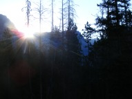 The sun crests the horizon south of my camp on the upper Green River