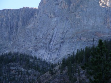 In the shadows, upper Green River, Wind River Range, Wyoming - use the trees for scale
