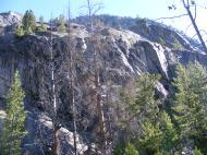 Granite bluff above camp