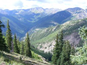 Looking at the vicinity of Alpine Gulch from Crystal Creek
