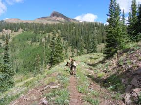 Crystal Peak over Draco and Leah on the Crystal Lake Trail