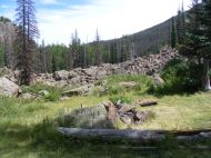 Part of the earthen dam that has created Second Meadows