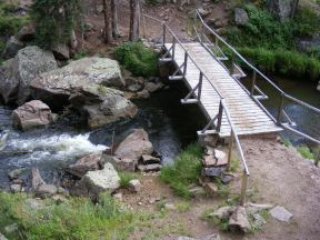 The bridge over Elk Creek at the outlet of Second Meadows