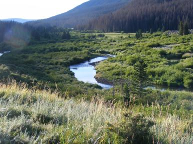 Looking downstream on Elk Creek towards the inlet to Second Meadows