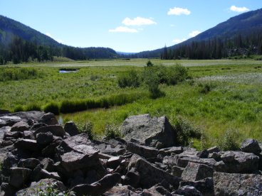 Hiking towards the outlet of Second Meadows