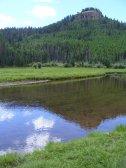 Sky reflected off of Elk Creek in First Meadows