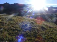 Hiking up through the alpine tundra on my way to Redcloud Mountain