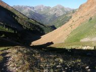 On Silver Creek, looking back towards Grizzly Gulch and Handies Peak and Whitecross Mountain