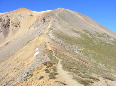 From the saddle, looking up to Redcloud Peak