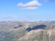 Looking west while ascending Redcloud Peak, the mighty San Juan Mountains