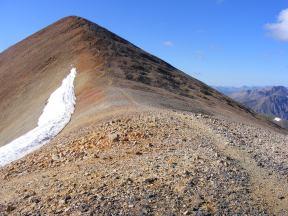 Looking at the final switchbacks just below the summit of Redcloud Peak