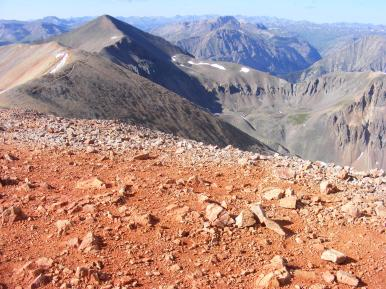 Looking at Sunshine Peak and points south in the San Juan Mountains, from Redcloud Peak