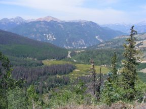 Overlooking the San Juan Mountains, through which Colorado 149 winds