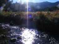 Sunlight reflection off of Texas Creek in the Sawatch Range