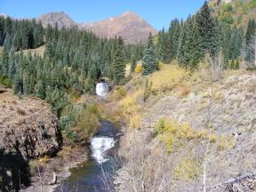Waterfalls in Poverty Gulch; Cascade Mountain to the left and Mineral Point to the right