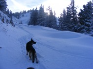Leah on the west side of Old Monarch Pass where the snow drifts