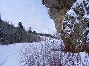 Overhanging rock on Willow Creek