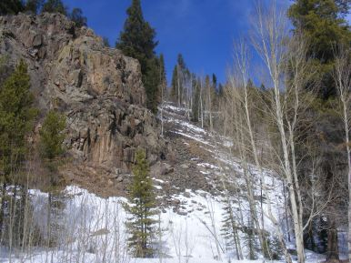 South facing mosaic of aspen, conifer, snow and rock