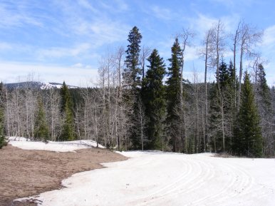 Snows have yet to melt in mid-May on East Red Creek